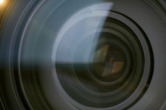 Closeup camera shutter lens technology background Royalty Free Stock Photo