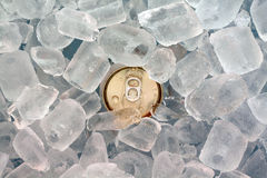 Closeup can in ice. Closeup beer can in ice Royalty Free Stock Photography