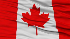 Closeup Canada Flag. Waving in the Wind, High Resolution Stock Image