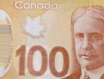 Closeup of a Canadian 100-dollar bill. Macro stock image