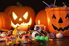 Closeup of candies with pumpkins Royalty Free Stock Photography