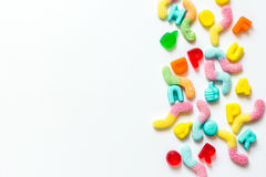 Closeup of candy on white table background top view mockup Royalty Free Stock Image