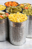 Closeup Canned Vegetables Stock Image