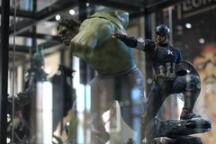 Closeup Captain America and Hulk Figure Model on display at The M Cafe royalty free stock photo