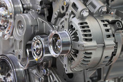 Closeup of a car alternator stock image