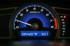 Closeup car dashboard. Modern car illuminated dashboard closeup Royalty Free Stock Image