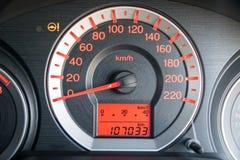 Closeup car dashboard. Modern car illuminated dashboard closeup Stock Images
