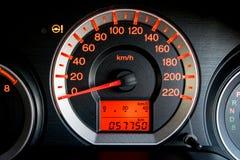 Closeup car dashboard. Modern car illuminated dashboard closeup Royalty Free Stock Photos