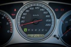 Closeup car dashboard. Modern car illuminated dashboard closeup Stock Photo