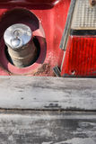 Closeup of a car gas tank with visible rusty Royalty Free Stock Photo
