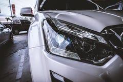 Closeup of car headlight Royalty Free Stock Photography