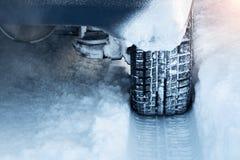 Closeup of car tires in winter Royalty Free Stock Photos