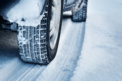 Closeup of car tires in winter Stock Image