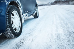 Closeup of car tires in winter Stock Images