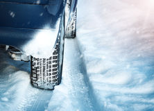 Closeup of car tires in winter Royalty Free Stock Images