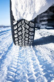 Closeup of car tires in winter Royalty Free Stock Image