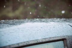 Closeup Car Wet Windshield and Windshield Wiper with Rain drop in Raining Season. Closeup Car anti-glare, rain drops on the windshield of a car Royalty Free Stock Photography