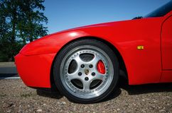Closeup car wheel Porsche 944 Turbo with logo Stock Photography