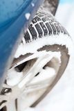 Closeup of car winter tire Royalty Free Stock Image