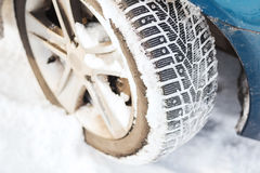 Closeup of car winter tire Stock Images