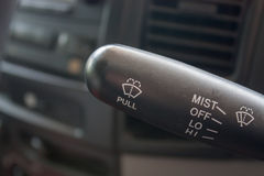 Closeup of car wiper control Royalty Free Stock Photos