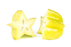 Closeup of a carambola cut in half Royalty Free Stock Photos