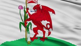 Closeup Cardiff city flag, UK. Cardiff closeup flag, city of UK, realistic animation seamless loop - 10 seconds long stock video