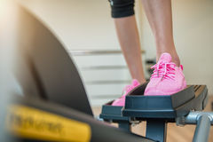Closeup cardio workout Back view of attractive young Stock Images