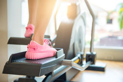 Closeup cardio workout Back view of attractive young Royalty Free Stock Photos