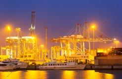 Closeup of cargo port in  evening. Algeciras Royalty Free Stock Photography