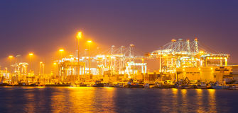 Closeup of cargo port in  night Royalty Free Stock Photography