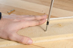 Closeup of carpenter tightening a screw with a screwdriver Royalty Free Stock Photography