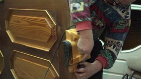 Closeup of Carpenter Working with the Electrical Jointer. Door Tuning. 4k. Closeup of  Carpenter Working with the Electrical Jointer. Door Tuning. 4k stock footage