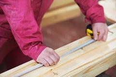 Closeup carpentry wood cross cutting Stock Images
