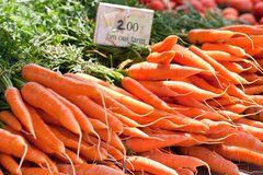 Closeup of carrot bunches from. Closeup of bunches of carrots with a sign indicating their price, taken at a local outdoor farmers market Royalty Free Stock Image