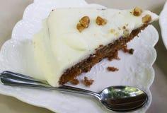 Closeup of Carrot Cake with walnut Stock Photos