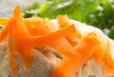 Closeup of carrot shavings on Gefilte Fish Stock Photography