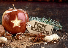 Closeup Carved Star on Holiday Fruit Apple Royalty Free Stock Image
