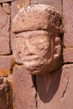 Closeup of carved stone tenon-head Stock Photos