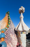 Closeup of Casa Batllo over Passeig de Gracia Stock Photography