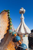 Closeup of Casa Batllo over Passeig de Gracia in Barcelona Stock Images
