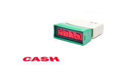 Closeup of cash letter on rubber stamp isolated Stock Image