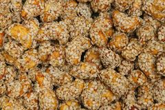 Closeup  cashew in sesame shoot background Royalty Free Stock Photo
