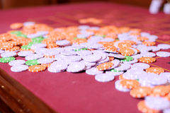 Closeup of Casino Chips Stock Image