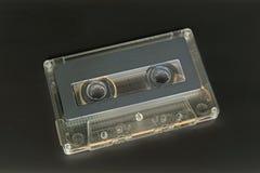 Closeup Cassette Tape on Dark Gray Background Stock Image