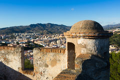 Closeup of castle over city in Malaga Stock Image