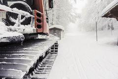 Snowy snow plow Royalty Free Stock Photo