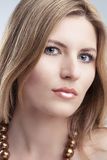 Closeup of Caucasian Blond Female Face Royalty Free Stock Photography