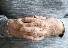 Closeup of caucasian female elderly hands stock image