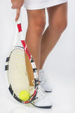 Closeup on Caucasian Female Tennis Sportswoman In Professional O. Fragment Shot of the Legs of Caucasian Female Tennis Sportswoman In Professional Outfit stock photography